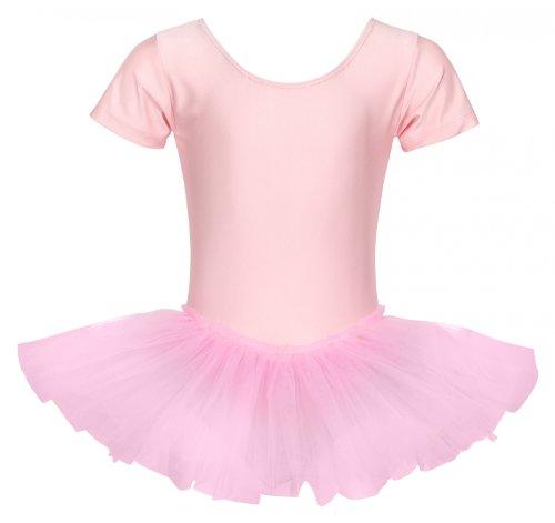 tanzmuster ® Ballettkleid Mädchen Kurzarm - Alina - (Größe 92-170) Tutu aus glänzendem Lycra Ballett Trikot Ballettbody in rosa, Größe 128/134