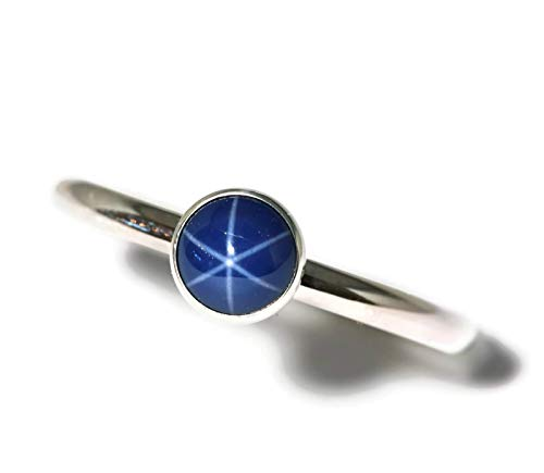 6mm Created Blue Star Sapphire Sterling Silver Ring