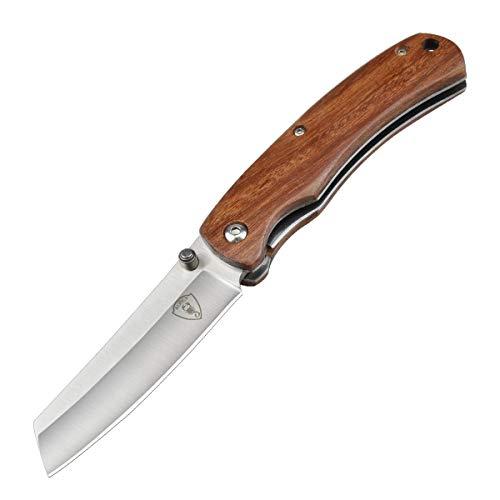 AUBEY Taschenmesser Holzgriff Survival Messer Klappmesser Outdoor Messer Holz Pocket Knife, ideal für Freizeit, Arbeit, Wandern, Camping (Holzgriff 02)