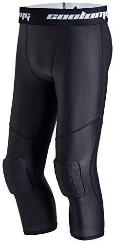 COOLOMG Leggings de baloncesto con rodilleras acolchadas para hombre, pantalones de compresión 3/4, mallas de deporte Negro XL