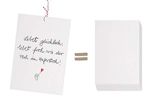 Eine der Guten 50 Ballonflugkarten blanko für Hochzeit, Geburtstag, Taufe, extra leichte Ballonkarten zum selbst Gestalten, als Hochzeitsspiel, Partyspiel, klimaneutral aus Recyclingpapier, Weiß