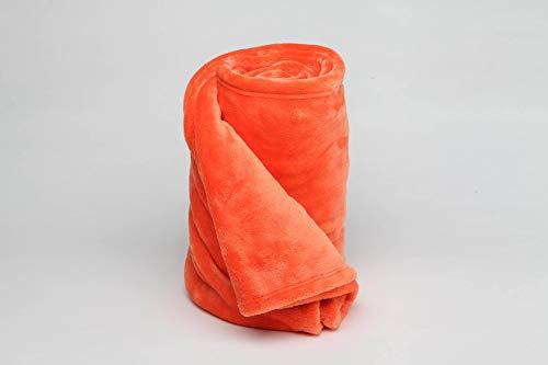Burrito Blanco Manta Plaid 046 para Sofá o Cama de Nacarina Suave Ligera y Cálida de 130x170 cm, Naranja