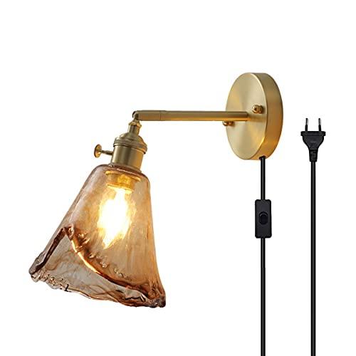 QEGY E27 Oro Lámpara de Pared Interior Vintage con Interruptor y Enchufe Aplique de Pared Latón Retro con Cable 1,8 m Luz de Pared Pasillos Vidrio ámbar Lámpara de Noche Comedor Iluminación,A