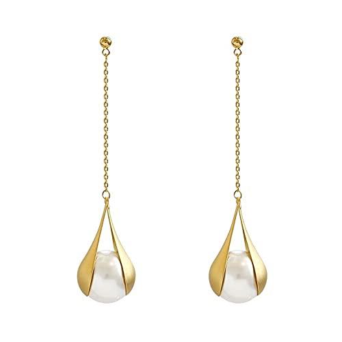 XCWXM Damas Moda Pendientes de Perla Oro Simple Joyería de Moda Boda Boda Pendientes de Swing Nupcial