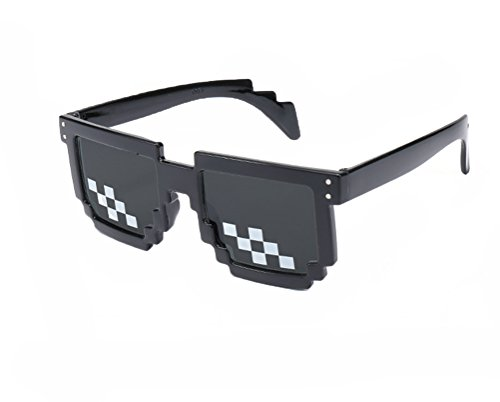 DD Mosaik 8-Bit Pixelig Sonnenbrille, Frauen Männer Unisex UV 400 Schutz Brillen mit Schwarzen Rahmen