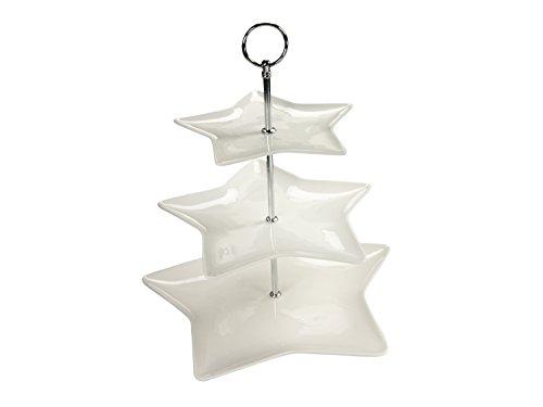 Creatable, 19564, étoile, Présentoir de 3 étages, Porcelaine, Blanc, 32 x 32 x 8 cm