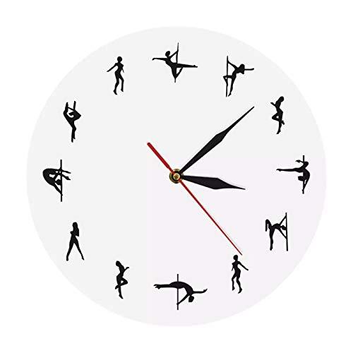 yage Reloj de pared con colgante de poste de baile, reloj de pared con movimiento silencioso moderno bailarín regalo para ella tubo de acero, decoración de pared adecuada para tienda sala de reuniones