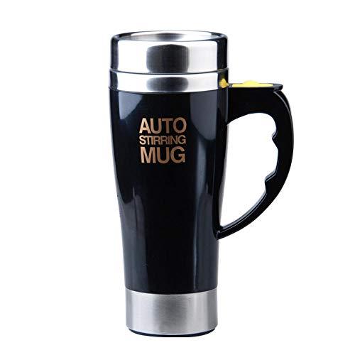 Taza de café eléctrica autoagitante, de acero inoxidable, taza magnética automática, taza de mezcla automática para café, té, chocolate caliente, proteína de cacao, color negro