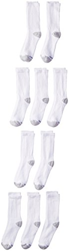 Hanes Ultimate Boys' 10-Pack Crew Socks, White, Small - Shoe Size: 4.5-8.5