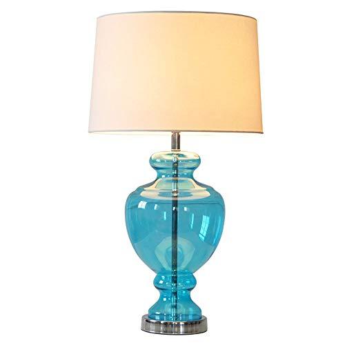Lampe de table en verre bleu créatif lumière de bureau moderne minimaliste chambre chaude chevet éclairage américain village village nuit veilleuse luminaire led lampe
