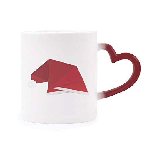 DIYthinker Rot Abstract Christmas Hat Origami Morphing Becher-Hitze-Sensitive rotes Herz-Cup Mehrfarbig