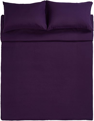 AmazonBasics Microfibre Duvet Cover Set, Double, Plum