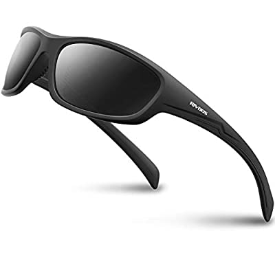 RIVBOS Polarized Sports Sunglasses Driving Glasses Shades for Men Women for Cycling Baseball 842 (832-1 Black&Grey)