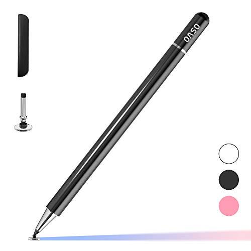 OASO Lápiz óptico para tableta, lápiz con punta de disco capacitiva y tapa magnética compatible con todas las pantallas táctiles, iPad pro/5/6/7/8/iPhone, Samsung Galaxy Tab A7/S7 negro