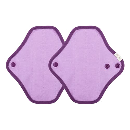 2 ProtegeSlips Reutilizables De Algodón 100% Ecológico - Lavables - Comodidad y Protección Garantizadass - Antifugas y Antiolores - Salvaslip Reutilizable - Salvaslip Algodón - Color Lila - GU Woman