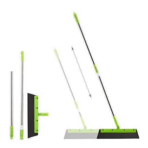 Relaxdays Wasserschieber, mit Teleskopstiel, 3 Wischblätter, Bodenabzieher Fliesen, Fenster, Dusche, HxB 128x35 cm, grün