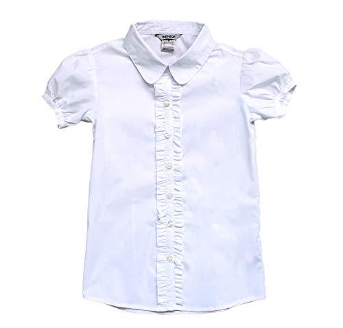 Bienzoe Mädchen Schuluniform Kurzarm Weißes Blusen XL