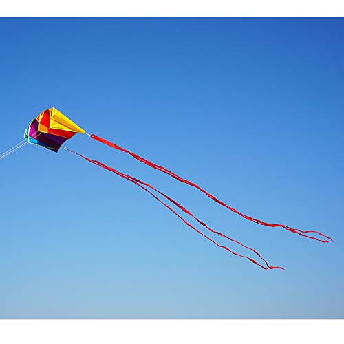 Besra Rainbow Parafoil Kite with 5m Long Tails Single Line Parachute Kite Easy to Fly Outdoor Fun Sports(34inch)