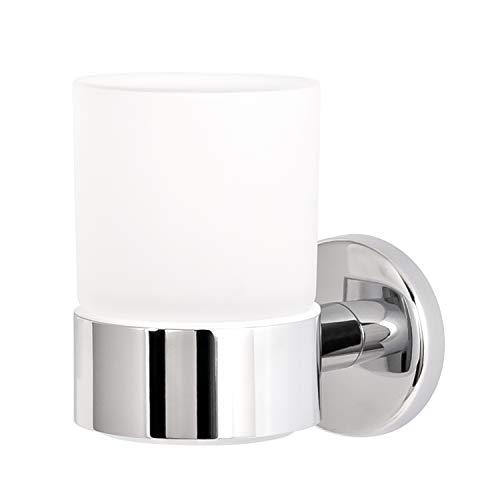 bremermann Conjunto de Vaso para Cepillo de Dientes Serie de baño Lucente en Acero Inoxidable Cromado