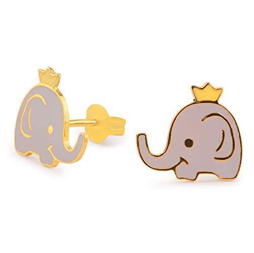 Monkimau Pendientes para mujer, diseño de corona de elefante, de latón, bañados en oro, pintados a mano