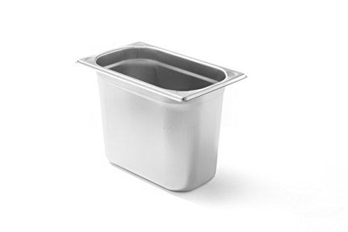 HENDI Gastronormbehälter, Temperaturbeständig von -40° bis 300°C, Heissluftöfen-Kühl- und Tiefkühlschränken-Chafing Dishes-Bain Marie, Stapelbar, 5,5L, GN 1/4, 265x162x(H)200mm, Edelstahl