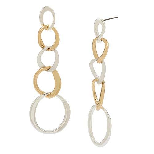 Robert Lee Morris Soho Women's Sculptural Circle Link Linear Earrings, Two Tone, One Size