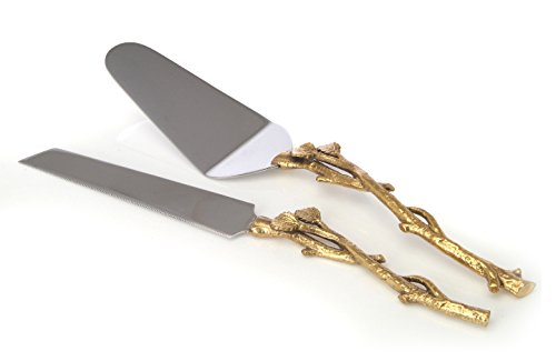 2 Piece Goldleaf (twig) Cake Server Set. 1 Cake Knife and 1 Cake Server. Leaf Design 2 Tone Made of Stainless Steel and Brass. Ideal for Weddings, Party's, Elegant events,,