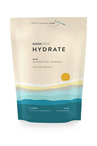 GOODONYA Hydrate Organic Electrolyte + Mineral Powder, Lemon, 0g Added Sugar, Clean & Natural Hydration (55 Servings)