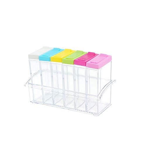 STRAW Jar Especias condimento Caja de la Cocina de Especias Tarros Botella Transparente Sal Pimienta Comino Tool Box Polvo