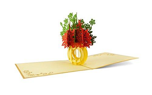 Flores Bouquet como Pop Up tarjeta de crédito regalo Bodas en rojo y verde, f01.1