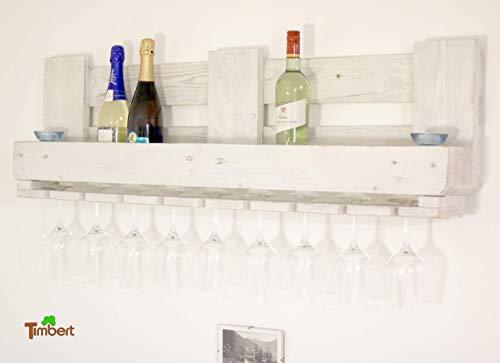 Vintage WEINREGAL Palette Wandregal aus Holz in Shabby Chic Weiß RUSTIKAL Palettenmöbel Flaschenregal für Weinflaschen mit Glaseinhängung aus Altholz Wandregal Hängeregal Geschenk Holzregal Industrial