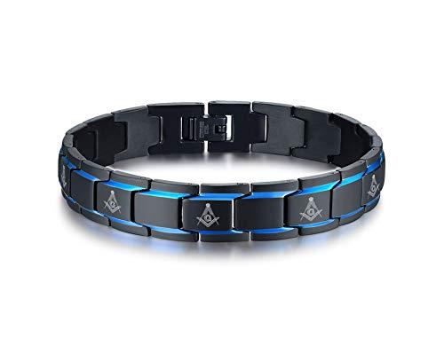 MEALGUET 2-Tone Black Blue Stainless Steel Freemasons Masonic Symbol Link Bracelet for Men Boys Brother Mason Bracelet Gift for Men, Removal Link Tool
