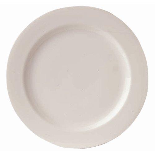 Assiette classique blanche à bord large. Dimensions : 240 mm. Quantité : 12.