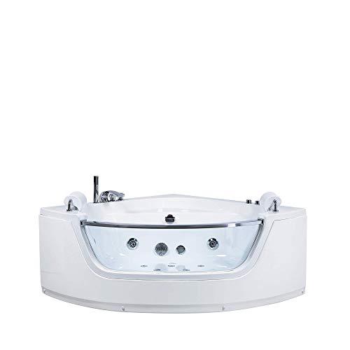 Beliani Eckbadewanne Whirlpool weiß LED mit 7 Farben 140 cm Sanitäracryl Mangle