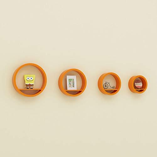 Zwevend rek - TV achtergrond wanddecoratie creatieve wandbevestiging set van 4 Oranje.
