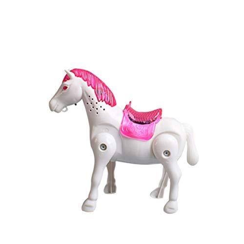 Toyvian Laufende Pferde Figur Glühende Musikalische Karussell Statuen zu Fuß Spielzeug Desktop Dekoration für Geburtstag Neujahr Geschenk ohne Batterie (Weiß)