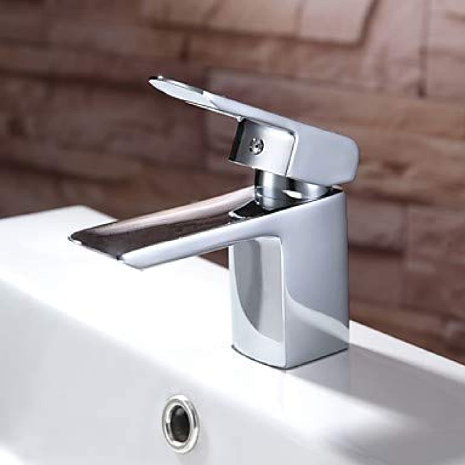 YAMEIJIA Contemporary Centerset Waterfall Ceramic Valve Single Handle One Hole Chrome, Bathroom Sink Faucet