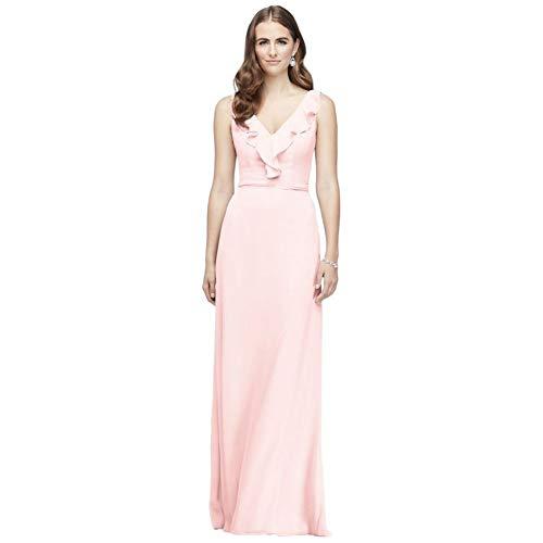 David's Bridal Ruffled Tank Crinkle Chiffon Bridesmaid Dress Style F19895, Petal, 0