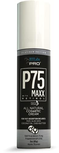 BIOLabs PRO All Natural P75 Maxx with Retinol Cosmetic Cream - 5000MG Progesterone per Bottle - 7.5% - Two Month Supply - 3oz (Unscented)