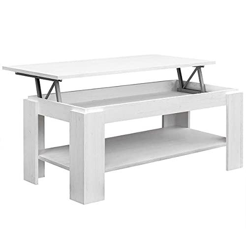 COMIFORT Mesa de Centro Elevable - Mueble con Revistero, Gran Almacenaje, Estilo Moderno, Muy Resistente, Fabricada en Europa, Color Nordic