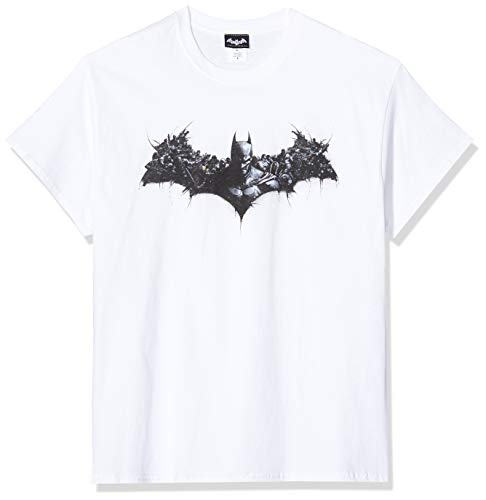dc comics Batman Arkham Origins Shield T-Shirt, Blanc (White), XL Homme