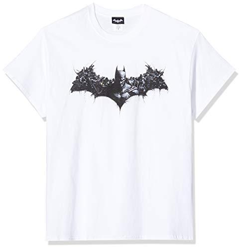 DC Comics Batman Arkham Origins Shield Camiseta, Blanco (White), Large para Hombre