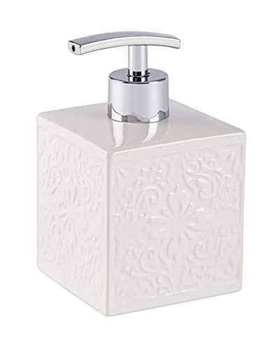 WENKO Distributeur de savon Cordoba blanc - Distributeur de savon liquide Capacité: 0.5 l, Céramique, 8.5 x 13 x 8.5 cm, Blanc
