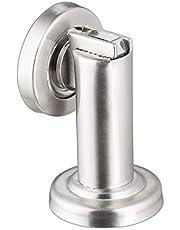 Relaxdays Magnetische deurhouder, van roestvrij staal, vloer- of wandmontage, deurhouder, zilver, 1 stuk