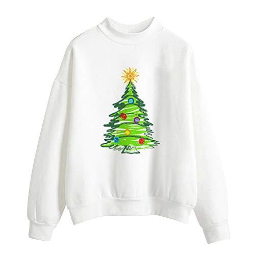OverDose Damen Frohe Weihnachten Frauen Weihnachtsmann Drucken Tägliche Party Active Langarm-Überraschung Sweatshirt Pullover Tops Bluse Shirt Outwear(Y-Weiß,38 DE/M CN)
