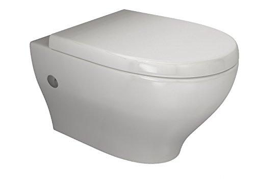 Aqua Bagno Spülrandloses Design Wand-Hänge-WC inkl. Softclose Sitz Toilette ohne Rand