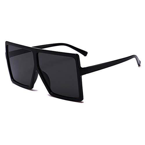 JUSLINK Oversized Sunglasses for Women Men, Square Flat Top Fashion Shades (Black)