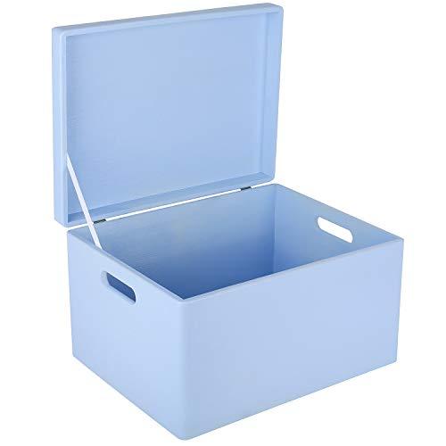 Creative Deco XXL Blau Große Holzkiste Aufbewahrungsbox Spielzeug | 40 x 30 x 24 cm (+/- 1cm) | Mit Deckel zum Dekorieren Aufbewahren | Mit Griff | Perfekt für Dokumente, Wertsachen und Werkzeuge