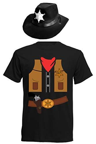 aprom Camiseta de Cowboy, Disfraz de Carnaval con Sombrero Negro S