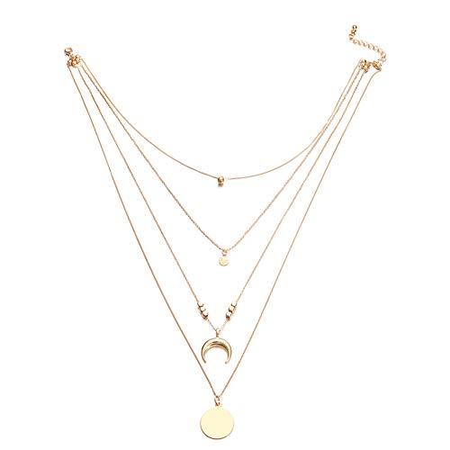 Ouken 1pc Mode Böhmen Multi-Layer Moon Wafer Pendant Halskette Gold lange Kette Choker Halskette für Frauen Nan